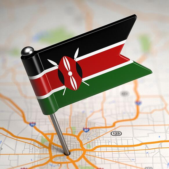 Small Flag of Kenya on a Map Background with Selective Focus..jpeg